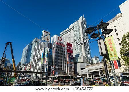 TOKYO JAPAN - January 3 2017: Shibuya It's the shopping district which surrounds Shibuya railway station. This area is known as one of the fashion centers of Japan