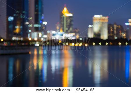 City downtown blurred bokeh light night view abstract background