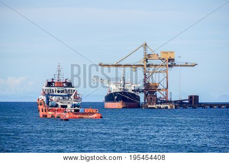 Labuan,Malaysia-June 26,2017:Offshore oil & gas sea construction & support vessels at port of Labuan,Malaysia. All the vessels port in Labuan island, most related to the offshore Oil & Gas industry.