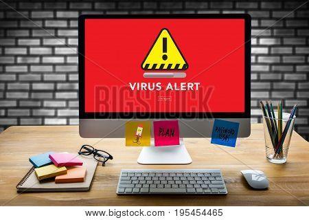 Virus Alert Warning Digital Browsing Firewall Hacker Protection Concept
