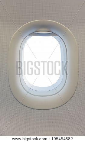 Window On Airplane With White Blank Window