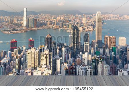 Opening wooden floor Hong Kong central business downtown aerial view over victorial bay