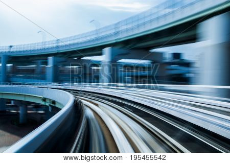 Moving train blurred motion curved abstract background