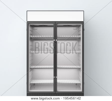 3d rendering commercial fridge with transparent glass doors