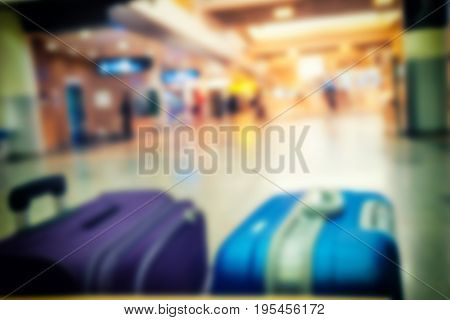 Abstract Blur Of Background Of Bagage At Airport With Vintage Filter - Can Use To Display Or Montage