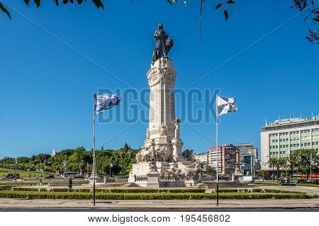 LISBON,PORTUGAL - MAY 19,2017 - Monument of Marquis Pombal at the head of the Avenida da Liberdade in Lisbon. Lisbon is the capital of Portugal.