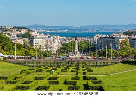 LISBON,PORTUGAL - MAY 19,2017 - View at the Lisbon from Eduardo VII. park. Lisbon is the capital of Portugal.