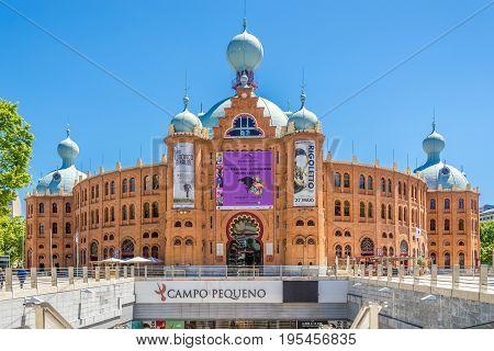 LISBON,PORTUGAL - MAY 19,2017 - Arena of Toros - Bullfight arena in Lisbon. Lisbon is the capital of Portugal.