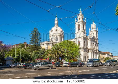 LISBON,PORTUGAL - MAY 19,2017 - View at the Basilica da Estrela in the streets of Lisbon. Lisbon is the capital of Portugal.