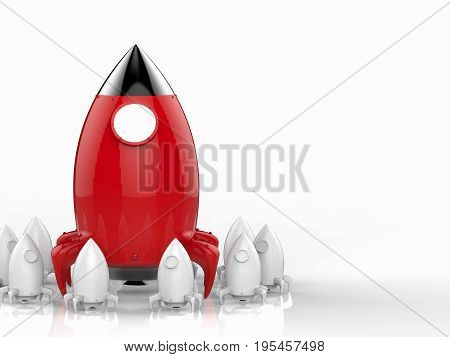 leadership concept with 3d rendering rocket launch