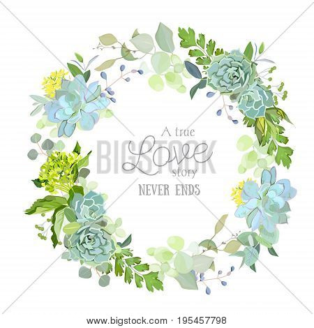 Spring mix of succulents, herbs and plants round vector design floral frame. Cute rustic green wedding flowers. All elements are isolated and editable.