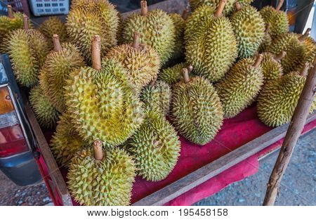 Durian Sell On Truck In Thailand Market.