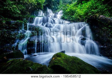 Background Waterfall rocks. Waterfall nature.Waterfall in Thailand.