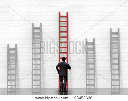 3d rendering rear view of businessman standing with ladder to success