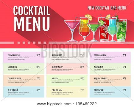 Flat style cocktail menu design. Retro style