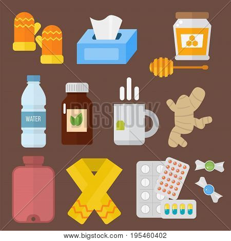 Collection of vector influenza and cold themed design elements in trendy flat design. Health medical disease flu season themed pharmacy sick throat honey help.
