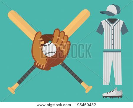 Cartoon baseball player uniform batting vector design american game athlete winner sport. Champion league equipment competition man character and athletic sport patches.