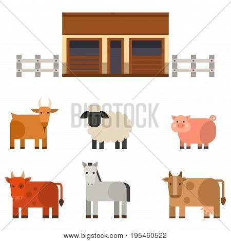 Farm icon vector illustration nature food harvesting grain agriculture different animals characters. Modern flat graphic growth cultivated design.