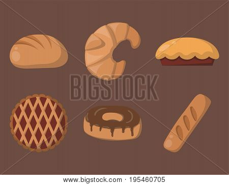 Cookie cakes isolated tasty snack delicious chocolate homemade pastry biscuit illustration. Vector set traditional gourmet sweet dessert bakery food confectionery fastfood.