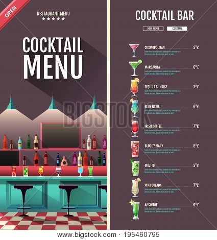 Flat style cocktail retro menu design with bar interior