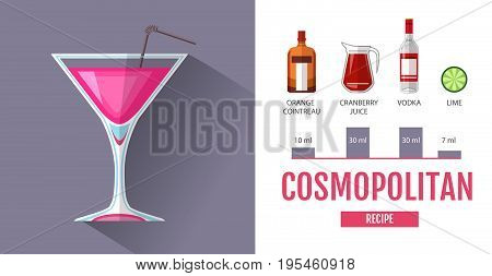 Flat style cocktail menu design. Cocktail cosmopolitan recipe