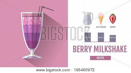 Flat style cocktail menu design. Cocktail milkshake recipe