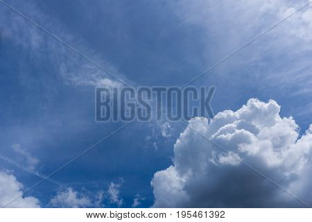 View on beautiful white Clouds on a Blue Sky. Close-up of Big Skies in the Morning. Cloud Formations.  Natural Background