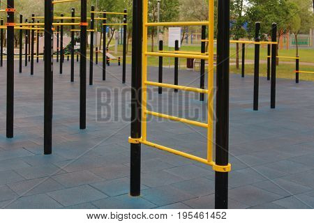 the horizontal bar and crossbar in the outdoor sports Playground.