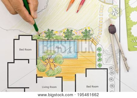 Landscape architect design backyard plan for villa .