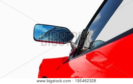 side rear-view mirror on a sports car .