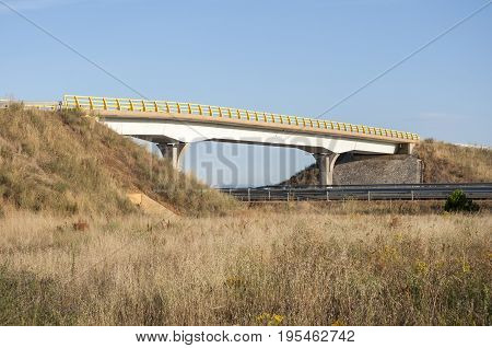 Overpass in a highway in Leon Province, Spain. These non-specific structures can be used as passageways by wildlife