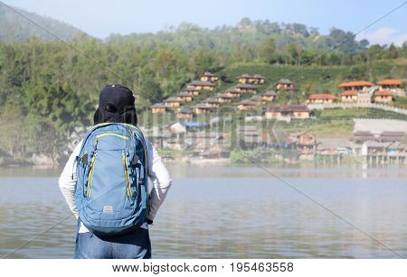 Tourist at Rak Thai village, Chinese Kuomintang refugees settlement in 1949 ,Mae Hong Son province, Northern Thailand.