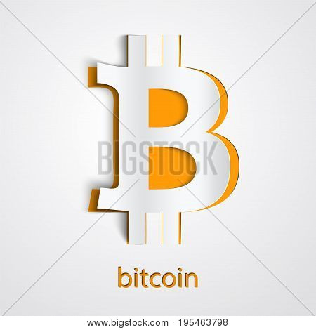 Paper art of digital currency Bitcoin. Electronic money exchanges and markets. Origami style. Vector Illustration
