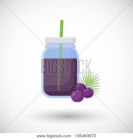 Acai berries smoothie vector flat icon Flat design of superfood or healthy eating object with round shadow isolated on the white background cute vector illustration with reflections