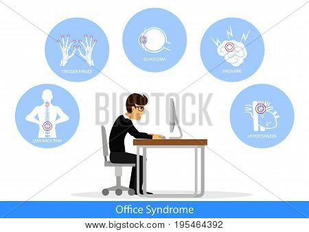 vector businessman in Office Syndrome Concept, illustration.