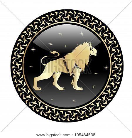 Leo zodiac sign in circle frame, vector Illustration. Contour icon.