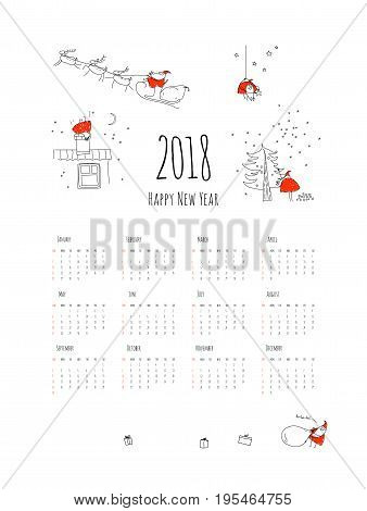 Monthly creative calendar 2018 with funny Santa Claus.Happy new year. Concept, vector vertical editable template.