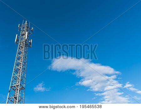 Tele-radio Tower With Blue Sky .