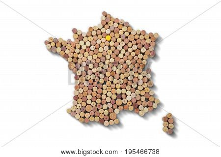 Wine-producing countries - maps from wine corks. Map of France on white background. Clipping path included.