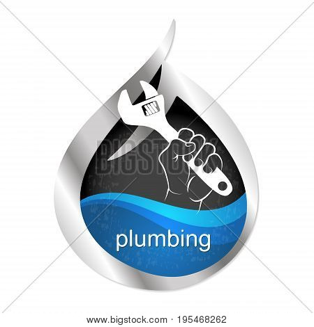 Symbol to repair plumbing and water supply vector