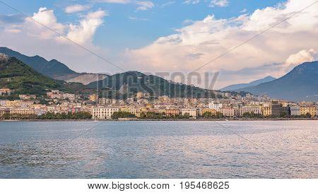 Panoramic view of Salerno city at sunset Campania Italy