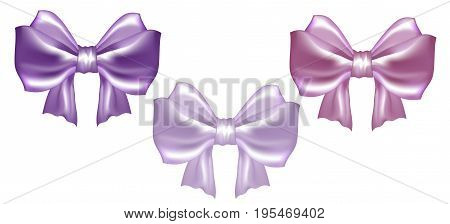 Set of three vector pastel satin silky bows