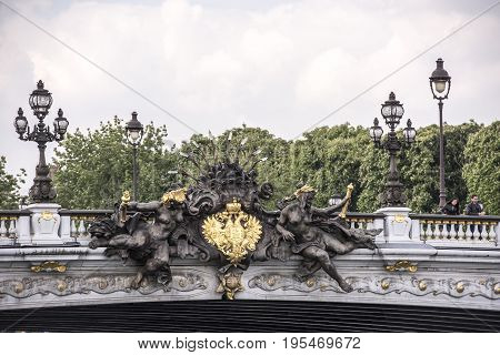 ParisFrance- April 29 2017: View of the Alexander lll Bridge