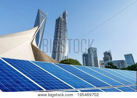 Shanghai urban landscape landmarks and solar panels