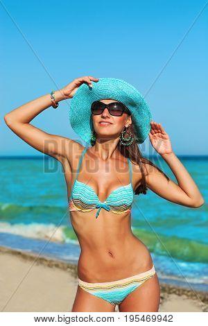Sexy Beautiful Woman On Sea Coast