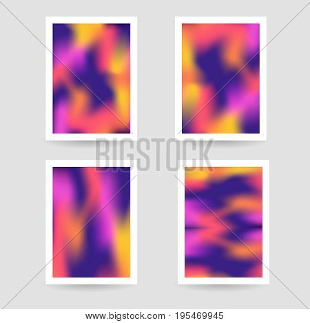 Fluid colors background, blurred background, set posters with white frame, purple orange yellow pink colors, gradient, banner. vector illustration.