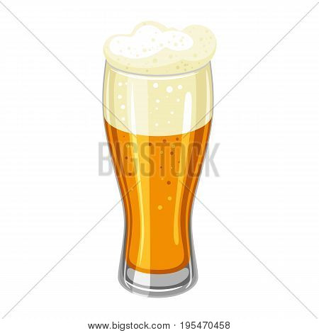 Glass with light beer and froth. Illustration for Oktoberfest.