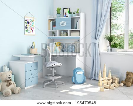 3d rendering. childrens room with many toys.