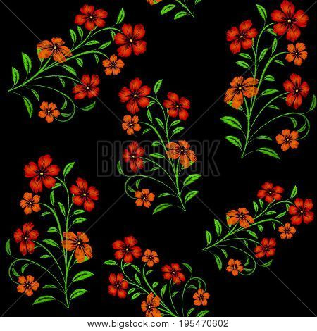 Embroidered red flowers on black background seamless pattern.Vector embroidered floral template with flowers for clothing design.