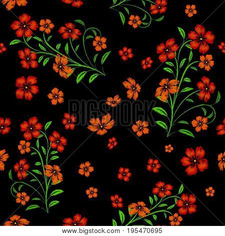 Embroidered red flowers on black background seamless pattern. Vector embroidered floral template with flowers for clothing design.